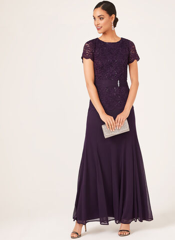 Sequin Lace Peplum Dress, Purple, hi-res