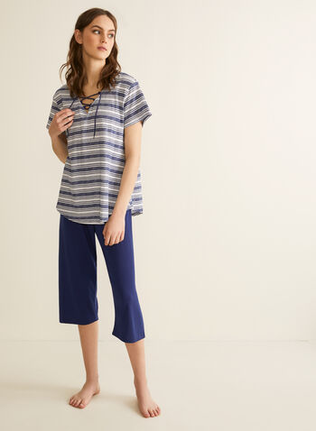 Claudel Lingerie - T-Shirt & Capri Pyjama Set, Blue,  pyjamas, sleepwear, t-shirt, capris, striped, v-neck, tie, short sleeves, pull-on, spring summer 2020