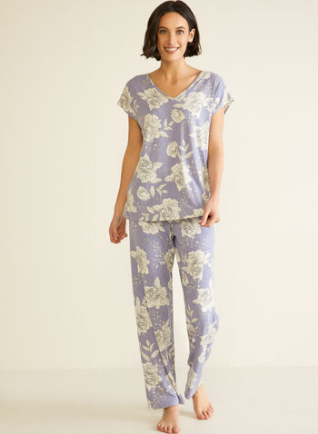 Floral Print Pyjama Set, Blue,  fall winter 2020, pj, pyjama, sleepwear, floral print, elastic waist, comfort, stretch, printed, gift, holiday, pull on, pull-on