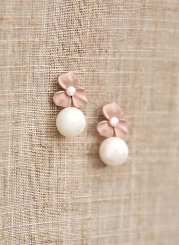 Boucles d'oreilles à pendentif fleur et perle, Rose,  accessoire, bijou, boucles d'oreilles, sur tige, fleur, perle, pendentif, printemps été 2021