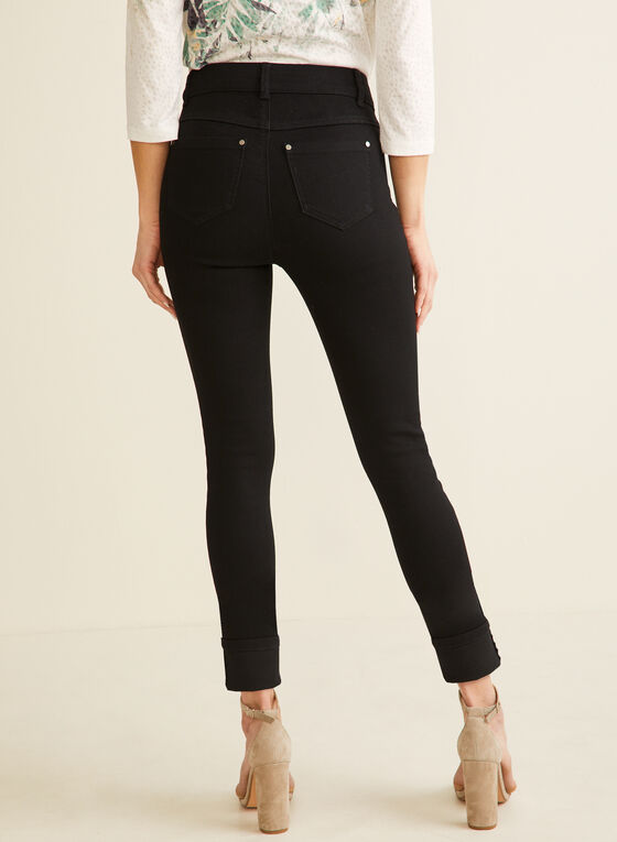 High-Waisted Slim Leg Jeans , Black