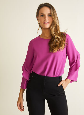 3/4 Ruffle Sleeve Blouse, Purple,  blouse, scoop neck, 3/4 sleeves, ruffled, spring summer 2020