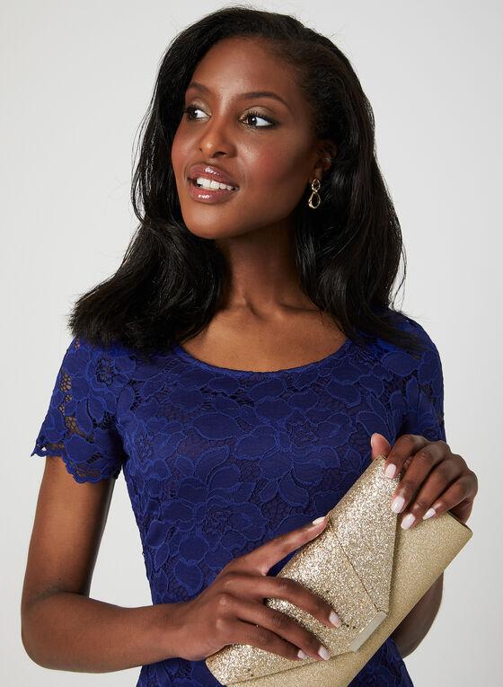 Floral Lace Midi Dress, Blue, hi-res