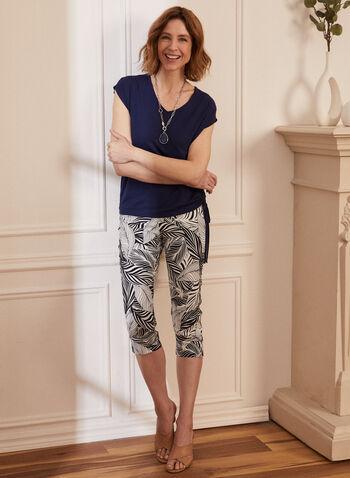 Capri à motif palmier, Blanc,  pantalon, capri, fait au canada, à enfiler, jambe droite, fente, palmier, contrastes, noir et blanc, printemps été 2021