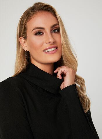 Button Detail Cowl Neck Sweater, Black, hi-res