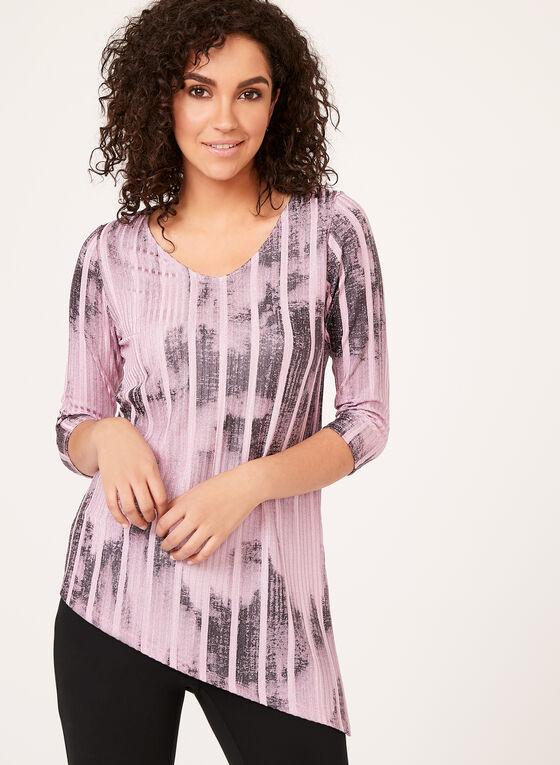 Haut brillant asymétrique à motif abstrait et rayures, Violet, hi-res