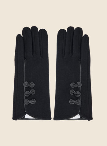 Bow Detail Gloves, Blue,  gloves, cotton, bow, fall winter 2020