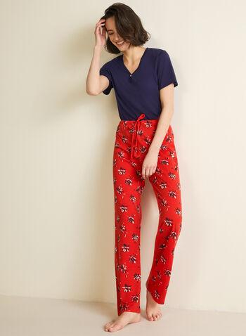 Abstract Print Pyjama Pants, Red,  pyjama, fall winter 2020, pants