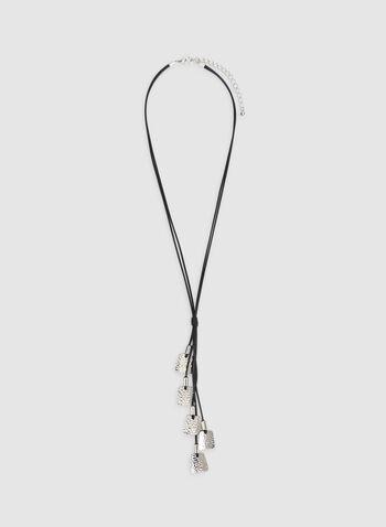 Hammered Metal Necklace, Black, hi-res
