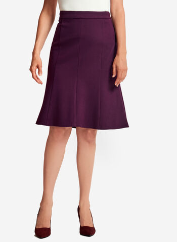 Ponte Gored A-Line Skirt , Purple, hi-res