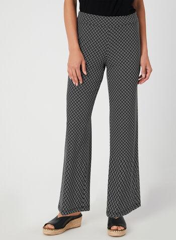 Pantalon coupe moderne à motif géométrique, Noir, hi-res,  pantalon, pull-on, jambe large, géométrique, moderne, automne hiver 2019