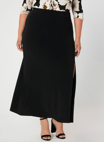 Jersey Pull-On Maxi Skirt, Black, hi-res,  a-line, side slit, asymmetric, pull-on, elasticized, jersey, fall 2019, winter 2019
