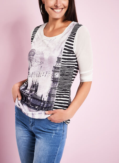 3/4 Sleeve London Print Top, White, hi-res