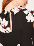 Tunique asymétrique florale à col chemisier inversé, Noir, hi-res