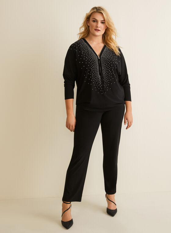 Joseph Ribkoff - Beaded Dolman Sleeve Top, Black