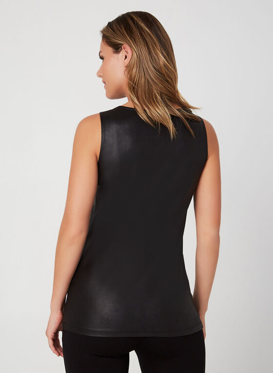 Faux Leather Sleeveless Top, Black, hi-res
