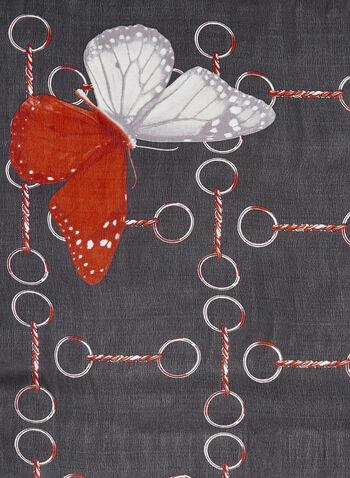 Carré de soie à motif papillons, Noir, hi-res
