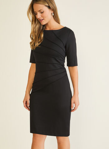 Elbow Sleeve Sheath Dress, Black,  day dress, elbow sleeves, sheath, pintuck, fall winter 2020