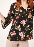 Floral Crepe Popover Blouse, Black, hi-res