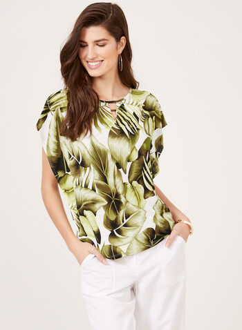 Drop Shoulder Sleeve Poncho Blouse, Green, hi-res