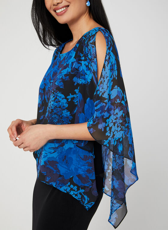 Floral Print Poncho Dress, Blue