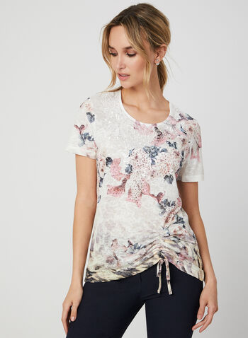 Floral Print T-Shirt, Red,  t-shirt, short sleeves, floral print, drawstring, rhinestones, lace, fall 2019, winter 2019