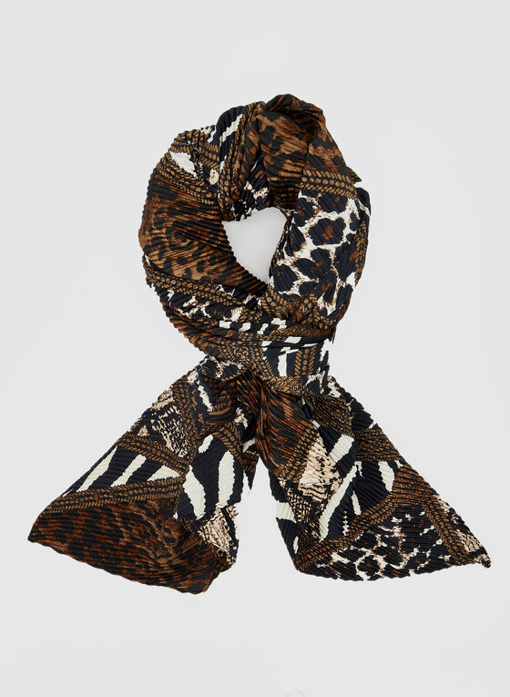 Mixed Animal Print Scarf, Brown