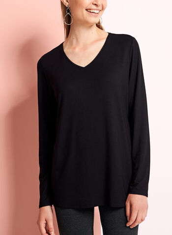 Long Sleeve V-Neck Top, Black, hi-res