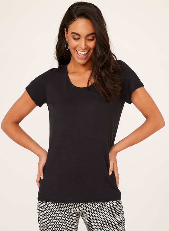 Short Sleeve Scoop Neck T-Shirt, Black, hi-res
