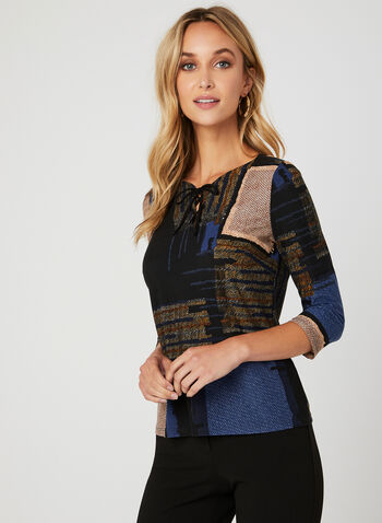 Abstract Patchwork Print Blouse, Blue, hi-res