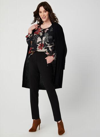 Blouse en crêpe à imprimés variés, Noir, hi-res,  lignes, rayures, pois, fleurs, floral, motif, motifs, automne hiver 2019