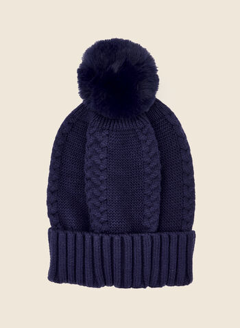 Faux Fur Pompom Hat, Blue,  fall winter 2020, hat, beanie, tuque, faux fur, holiday, holiday 2020, gift, braided