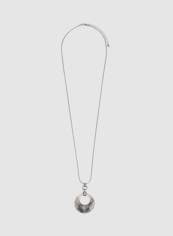 Resin Pendant Necklace, Grey, hi-res