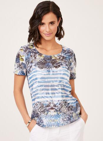 T-shirt fine maille avec motif exotique et strass, Bleu, hi-res
