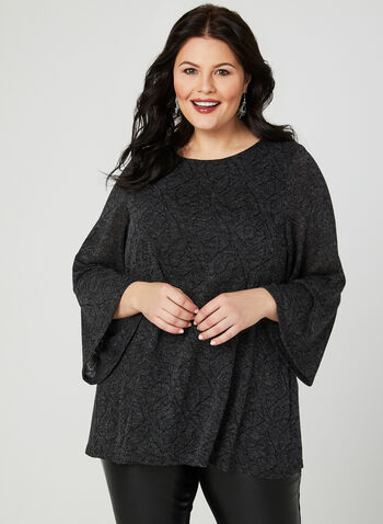 ¾ Sleeve Knit Top , Grey, hi-res
