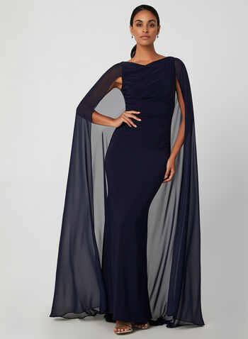 Chiffon Long Cape Dress, Blue, hi-res,  evening dress, chiffon, cape, jersey, sleeveless, boat neck, fall 2019, autumn 2019