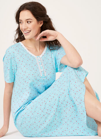 Hamilton - Short Sleeve Nightgown , Blue, hi-res
