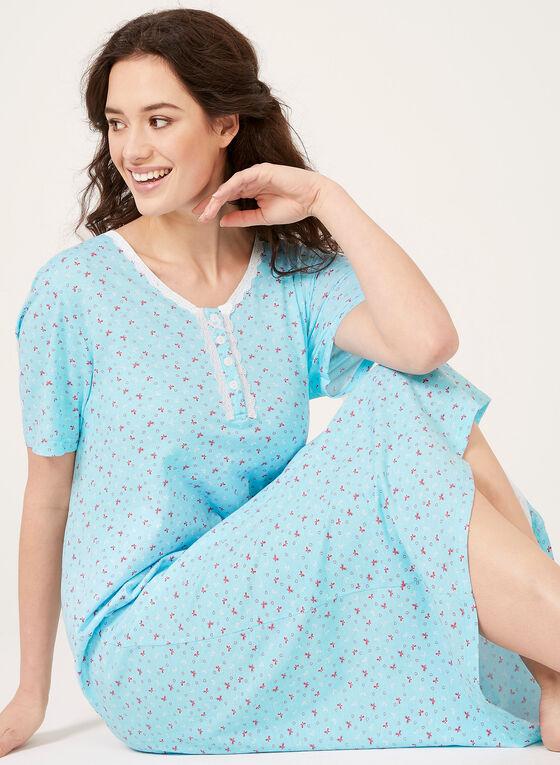 Short Sleeve Nightgown , Blue, hi-res