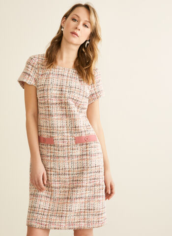 Decorative Pocket Tweed Dress, Pink,  spring 2020, dress, straight cut, tweed, short sleeves, faux pockets, buttons