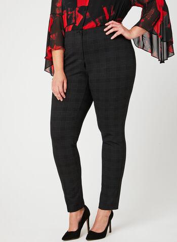 Pantalon coupe cité à jambe étroite motif tartan, Noir, hi-res