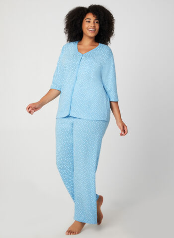 Bellina - Star Print Pyjama Set, Blue, hi-res,  pyjama pants and top, cotton pyjama