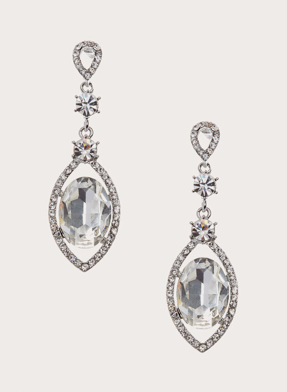 Crystal Drop Earrings , Silver, hi-res