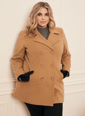 Manteau en laine et cachemire , Brun,  manteau, veste, double boutonnière, boutons, col cranté, laine, cachemire, poches, automne hiver 2020