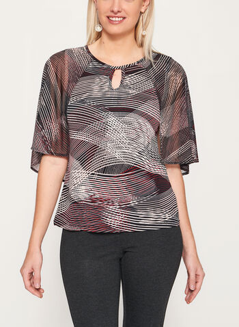 Abstract Stripe Print Cutout Jersey Blouse, , hi-res
