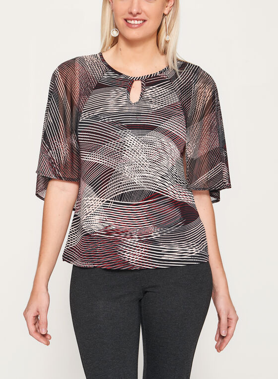 Abstract Stripe Print Cutout Jersey Blouse, Black, hi-res