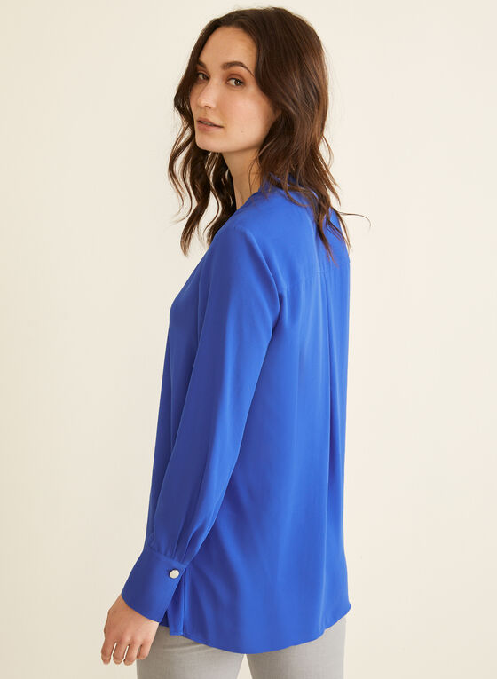 Crepe V-Neck Blouse, Blue