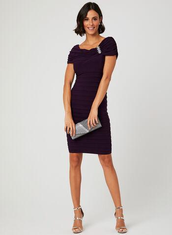 Embellished Neck Shutter Dress, Purple, hi-res