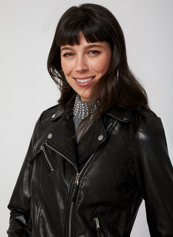 Faux Leather Moto Jacket, Black,  short jacket, faux-leather jacket