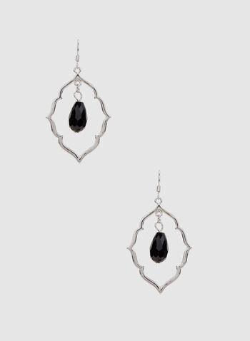 Damask Earrings, Black, hi-res,  earrings, damask, spring 2019