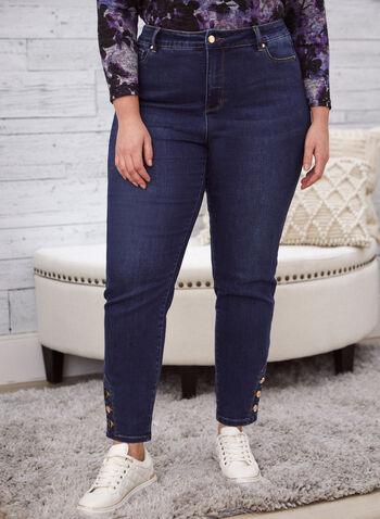 Jeans à jambe étroite et détails boutons, Bleu,  jeans, denim, jambe étroite, taille haute, boutons, poches, printemps été 2021